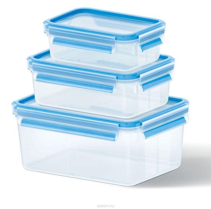 Набор контейнеров Emsa Clip&Close, 3 шт508566Набор Emsa Clip&Close состоит из трех контейнеров разного объема, изготовленных из высококачественного пищевого пластика, который выдерживает температуру от -40°С до +110°С, не впитывает запахи и не изменяет цвет. Это абсолютно гигиеничный продукт, который подходит для хранения даже детского питания. Изделия снабжены крышками, плотно закрывающимися на 4 защелки. Герметичность достигается за счет специальных силиконовых прослоек, которые позволяют…