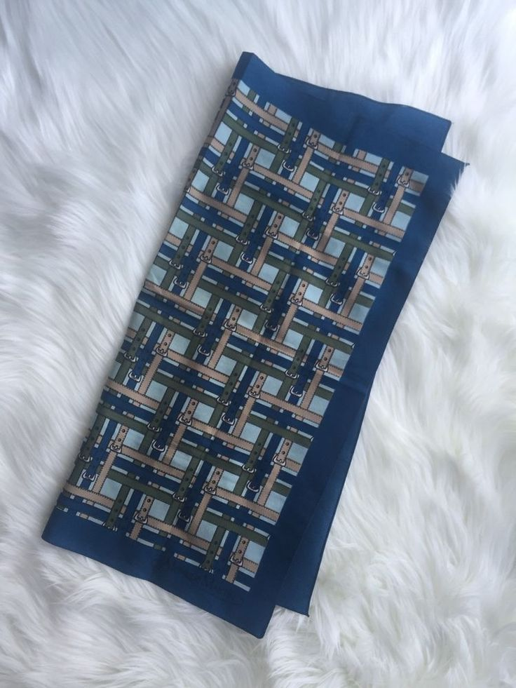 VTG Monique Martin 80's Blue Green Tan Belt Novelty Print Small Square Scarf #MoniqueMartin #Scarve