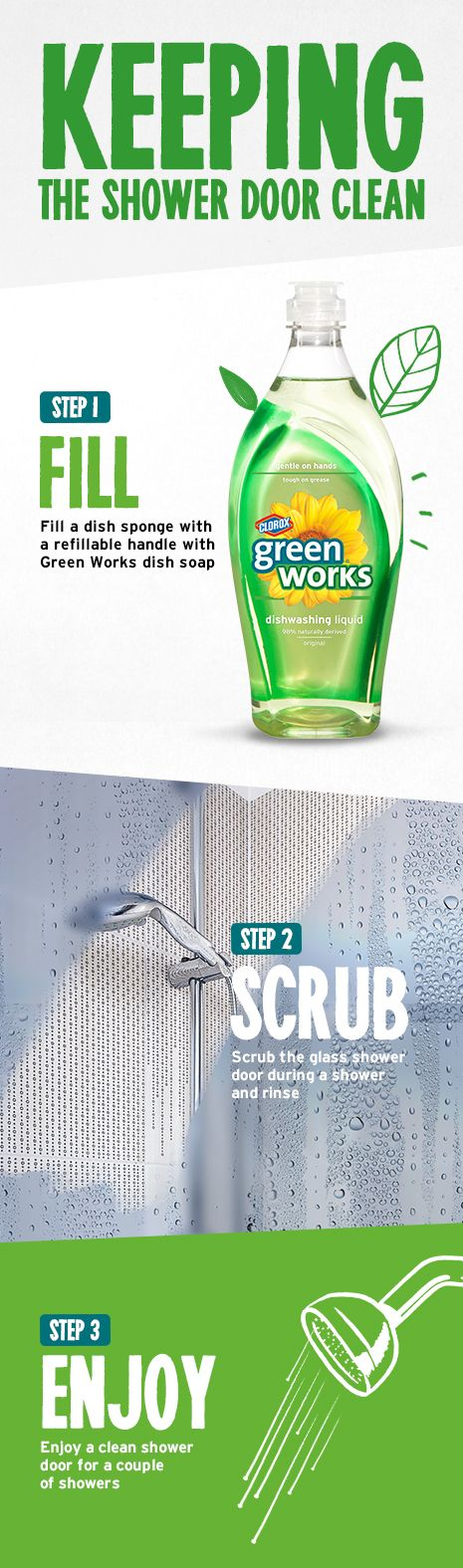 Keeping the shower door clean with Green Works liquid soap  #GreenWorksGames #sponsored
