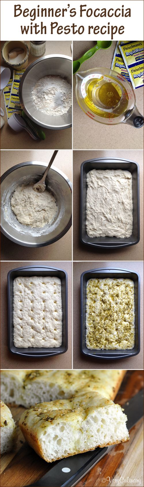 Beginner's Focaccia with Pesto recipe - easy enough for the novice bread baker!