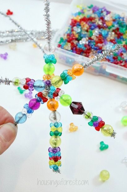 Easy Christmas Ornament kids can make ~ Beaded Snowflake Ornament