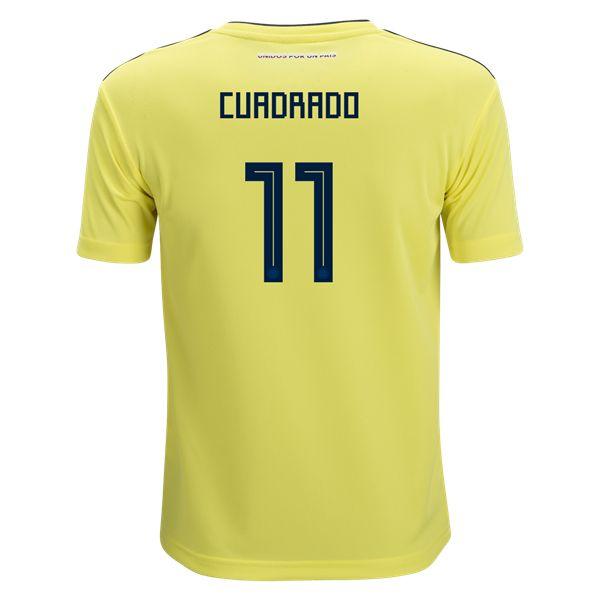 adidas Juan Cuadrado Colombia Youth Home Jersey 2018