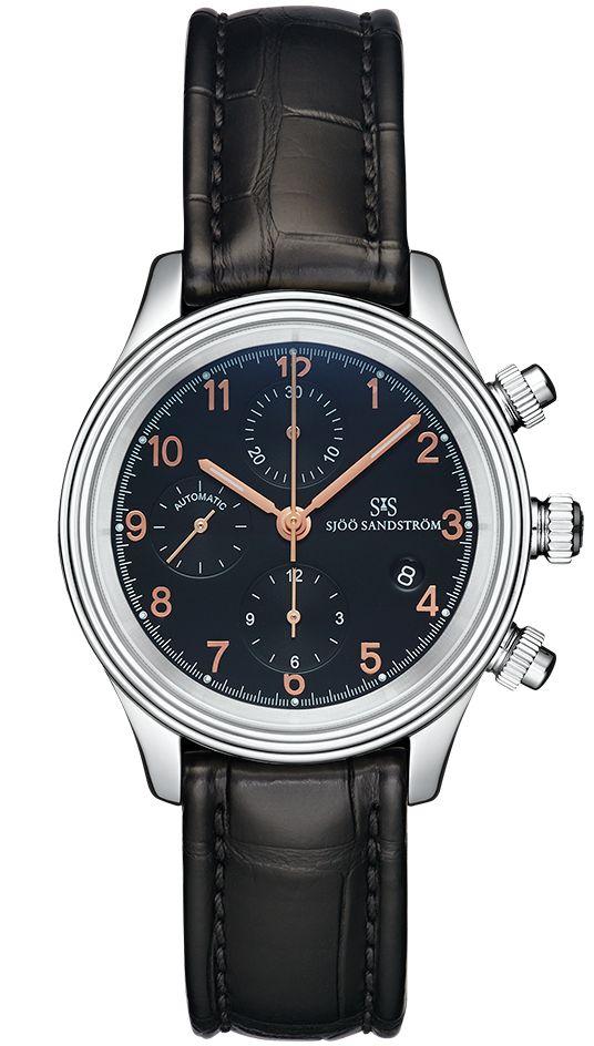 Royal Steel Chronograph 42 mm, black rose gold dial with black alligator. #sjöösandström #sjoosandstrom #watch #watches #sweden #chronograph #classic