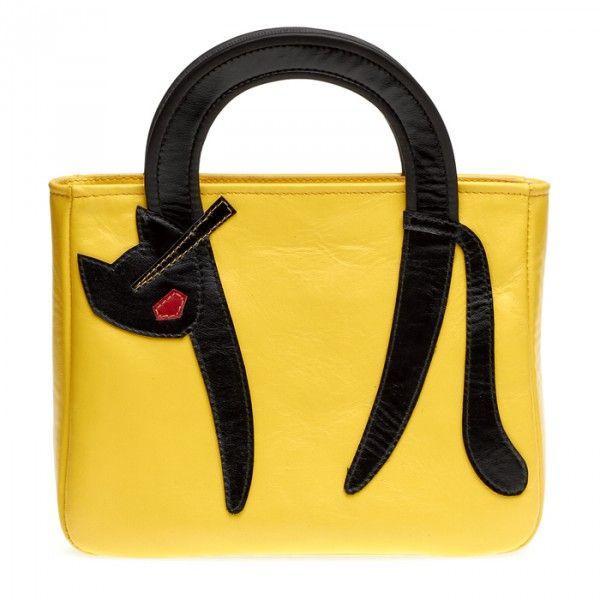 """Женская сумка """"Кошка с выгнутой спинкой"""", желтая"""