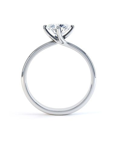 Platinum Round Four-Claw Compass Point Twist Solitaire Setting