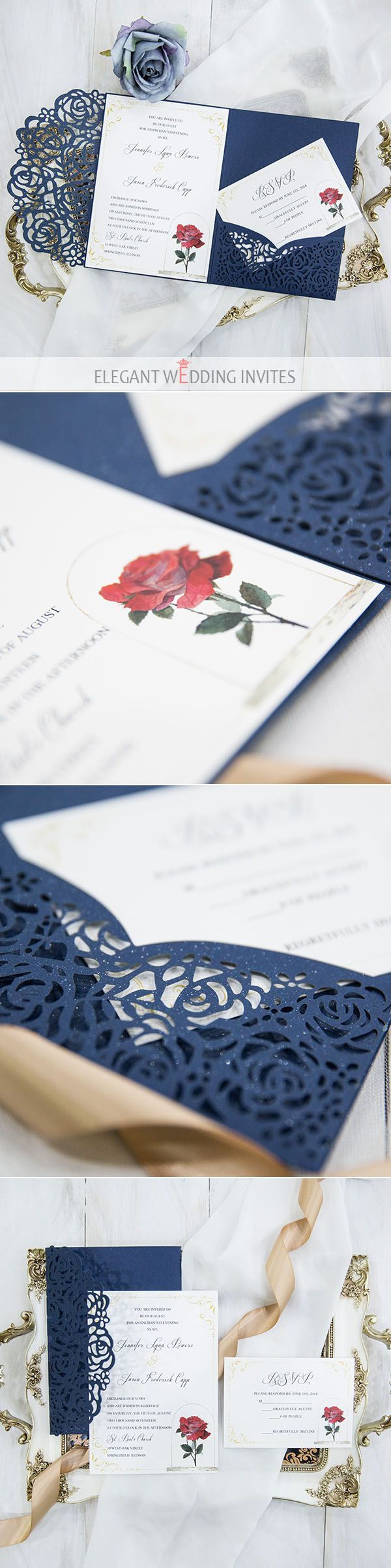 Beauty and the Beast film inspired navy blue laser cut pocket wedding invitation suites