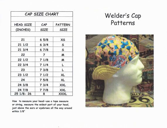 PDF-Welder's Hat/Cap Pattern for 6-Panel Short Crown Reversible Hat/Cap-- Sizes Infant-3XL Included
