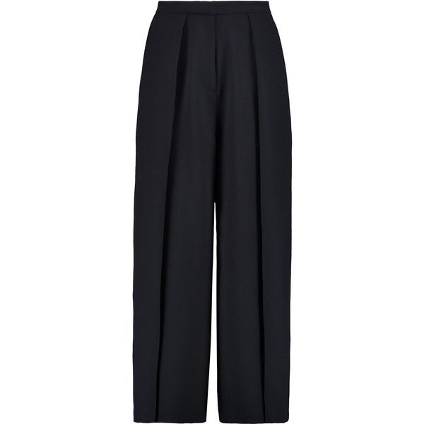 Iris and Ink Ingrid crepe culottes (3 150 ZAR) ❤ liked on Polyvore featuring pants, capris, navy, high-waist trousers, cropped pants, high rise pants, navy blue pants and crepe pants