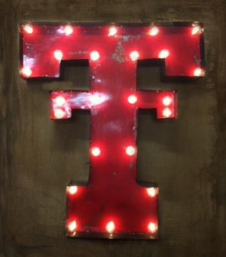 Lighted Rustic Texas Tech Handmade Sign  $119.95  www.gugonline.com