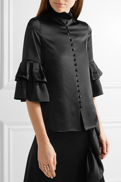 Co - Ruffle-trimmed Satin Blouse - Black - x small