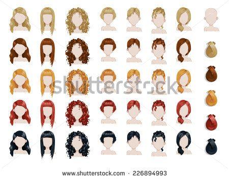 Set of female hair style sprites. Vector game design for app