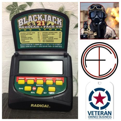 blackjack 21 Handheld Electronic Card Game Travel Pocket Model 2155 Casino