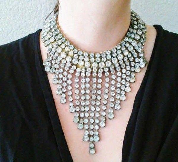 Vintage Rhinestone bib necklace Las Vegas Showgirl costume collar1970's #Collar