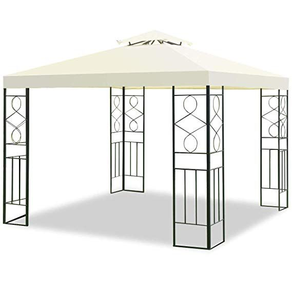 Amazon Com Tangkula 2 Tier 10 X10 Patio Gazebo Canopy Tent Steel Frame Shelter Awning Gray Garden Outdoor Gazebo Canopy Gazebo Tent Patio Gazebo