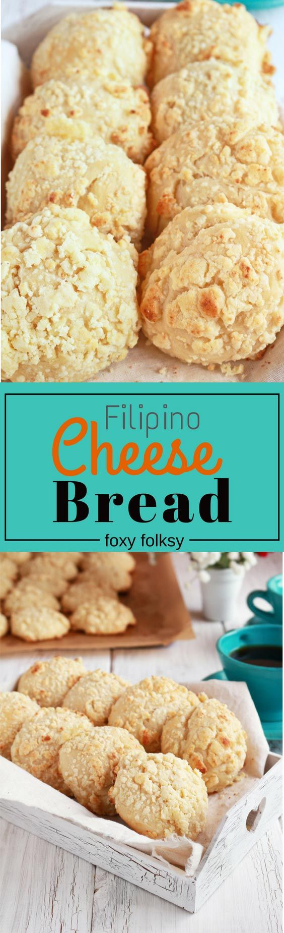 Filipino Cheese Bread is popular breakfast or afternoon snack. It is sweet and milky unlike other cheese bread there is! | www.foxyfolksy.com #recipe #asianfood #filipinofood #baking #recipe #snack #cheese