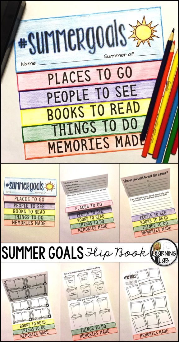 End of year activity. Students create goals for their summer vacation. Celebrate the end of the year and the beginning of summer!