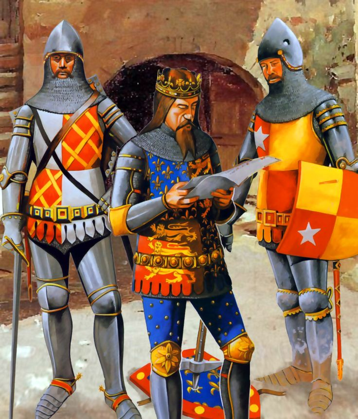 King Edward III of England with Lord le Despencer and John de Vere the 7th Earl of Oxford