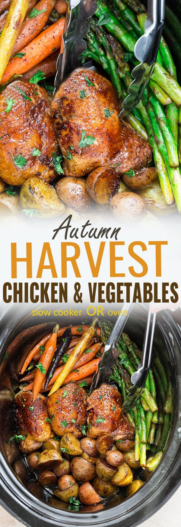 This recipe for Slow Cooker or Oven Harvest Chicken and Autumn Vegetables is an easy set and forget meal that's perfect for busy fall weeknights. Best of all, this all in meal is easy to customize and made with tender and juicy chicken, flavorful herbs and hearty fall vegetables. So easy to make in one pan with less than 15 minutes of prep time. Great for a fuss-free Thanksgiving dinner for two. #slowcooker #fall #chicken #vegetables #crockpot #onepot