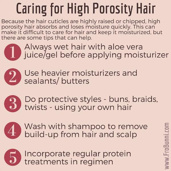 Caring for high porosity natural hair