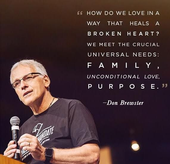 """""""How do we love in a way that heals a broken heart? We meet the crucial universal needs: family, unconditional love, purpose."""" - Don Brewster, #AboltionSummit2015"""