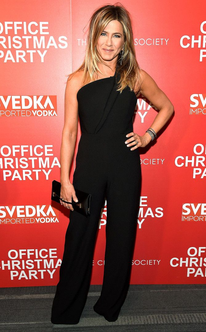 Jennifer Aniston in a one-shoulder black Brandon Maxwell jumpsuit