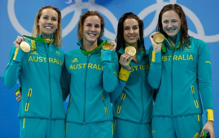 Gold medalists Emma McKeon, Brittany Elmslie, Bronte Campbell and Cate Campbell at the Olympic Aquatics Stadium