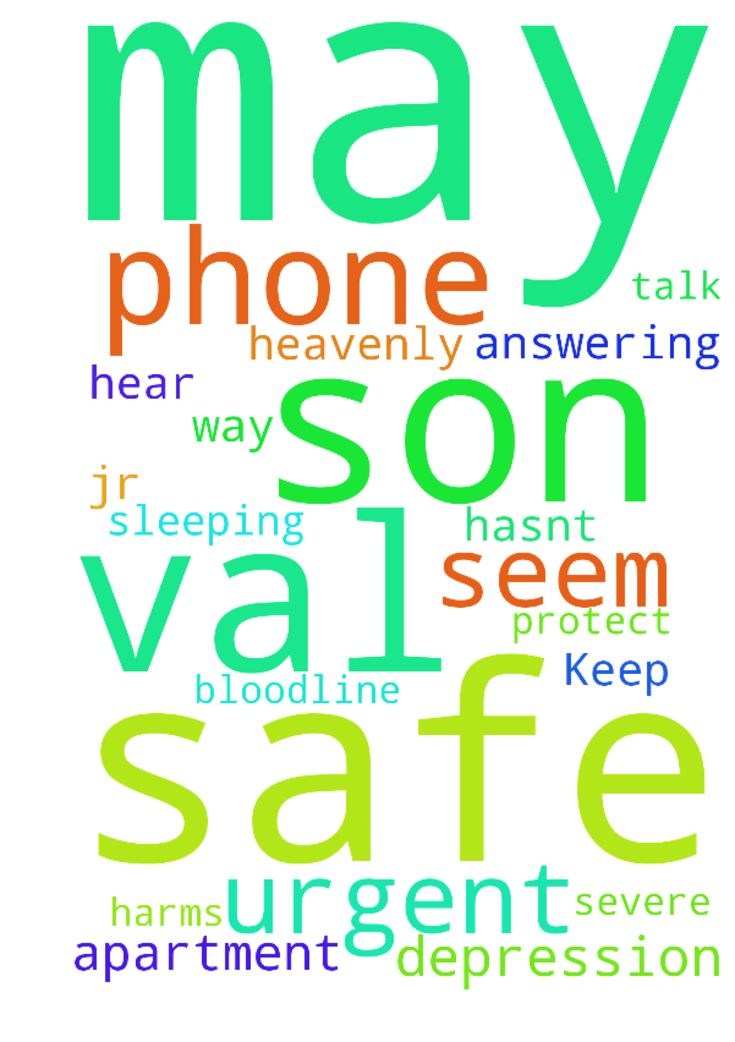 Keep Son Safe -  Heavenly Father I need urgent prayers for my son Val Jr. for he has severe depression and I cant seem to get him to talk to me on the phone. Please dear Father may he be safe and out of harms way. He hasnt been answering his phone. May the bloodline of Jesus protect him and may Val be safe in his apartment sleeping. Please dear Father hear my prayers. Amen..  Posted at: https://prayerrequest.com/t/o0I #pray #prayer #request #prayerrequest