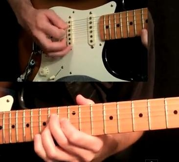 Left hand and right together!  Guitar lesson on www.guitartabmaker.com, they have tabs and videos together.