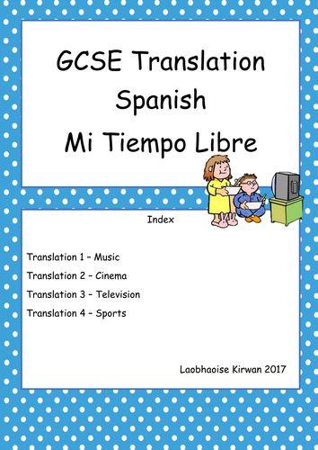 Mi Tiempo Libre Tranlsation Booklet GCSE 9-1 (New Spec) Free Time