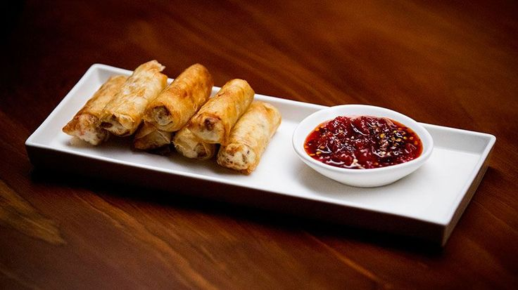Pork and Ricotta Spring Rolls with Tomato Chilli Jam