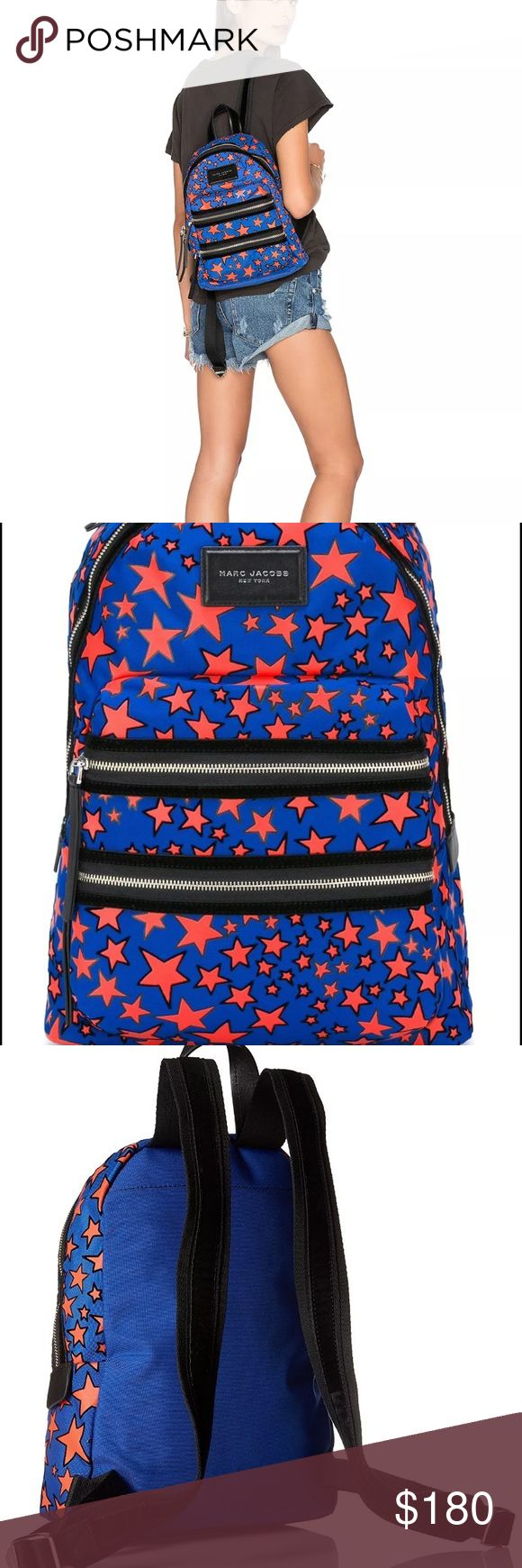 "Marc Jacob's Flocked Stars Biker Backpack Marc Jacob's Flocked Stars Biker Limited Edition Backpack! Take a look at our Marc Jacobs Flocked Stars Mini Biker Backpack today, and grab a handbag that'll work best for your day to day needs! Zipper closure. Measures at 10""W x 13.5""H x 3.5""D Polyester material with leather trim Top leather handle, two adjustable shoulder straps and a removable cross body strap with clip hardware Silver Tone Hardware Two-way top-zip closure Marc Jacobs Bags…"