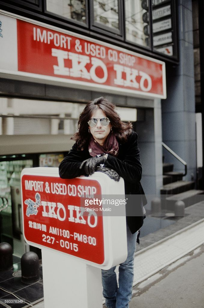 Gilby Clarke Guns N' Roses in front of imported CD shop in Nishi Shinjuku, Tokyo, January 1992.