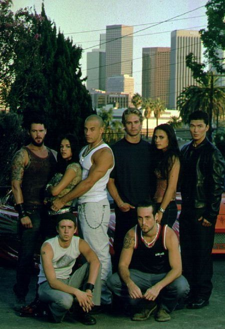 The Fast and the Furious: Matt Schulze (Vince), Michelle Rodriguez (Letty), Vin Diesel (Dominic Toretto), Paul Walker (Brian O'Conner), Jordana Brewster (Mia Toretto), Rick Yune (Johnny Tran), Chad Lindberg (Jesse), Johnny Strong (Leon)