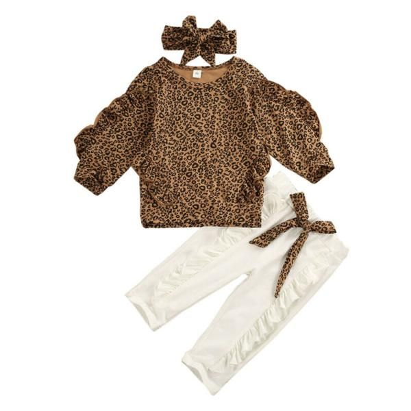 Toddler Kid Baby Girl Clothes Sweatshirt TopS Leopard Pants Headband Outfit Set
