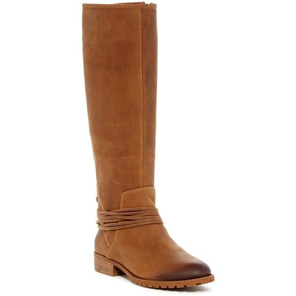 Arturo Chiang Darla Riding Boot ($110) ❤ liked on Polyvore featuring shoes, boots, macadamia, leather knee high boots, tall riding boots, tall boots, vintage lace up boots and tall lace up boots