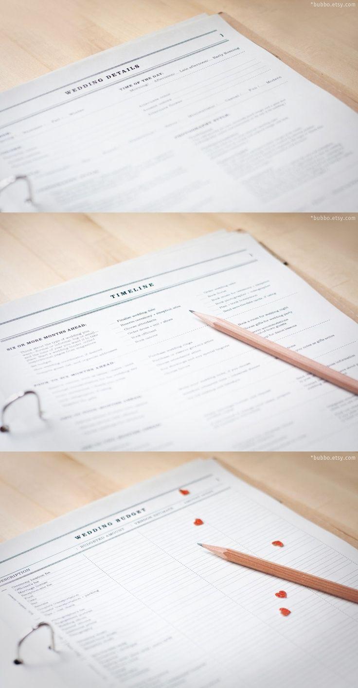 The Ultimate Wedding Planner! Letter printable WEDDING PLANNER (50 kinds of worksheets, tabs, eco-friendly organizer, workbook, templates). $18.00, via Etsy.