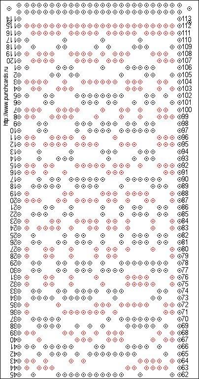 Постраничная разбивка изображений перфокарт с раппортом 24 петли для печати, печать перфокарты
