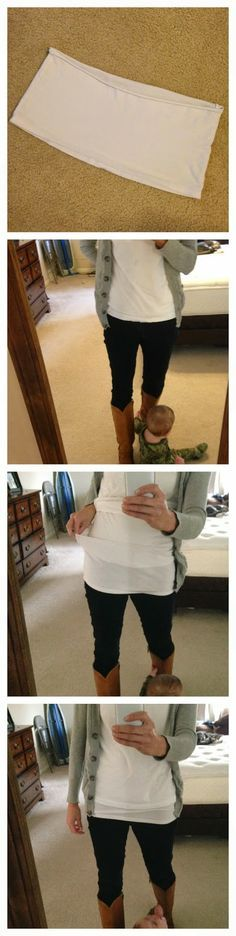 Cut up an old undertee and use it as a cheap and easy shirt extender! You won't believe how easy it is and what a difference it makes.