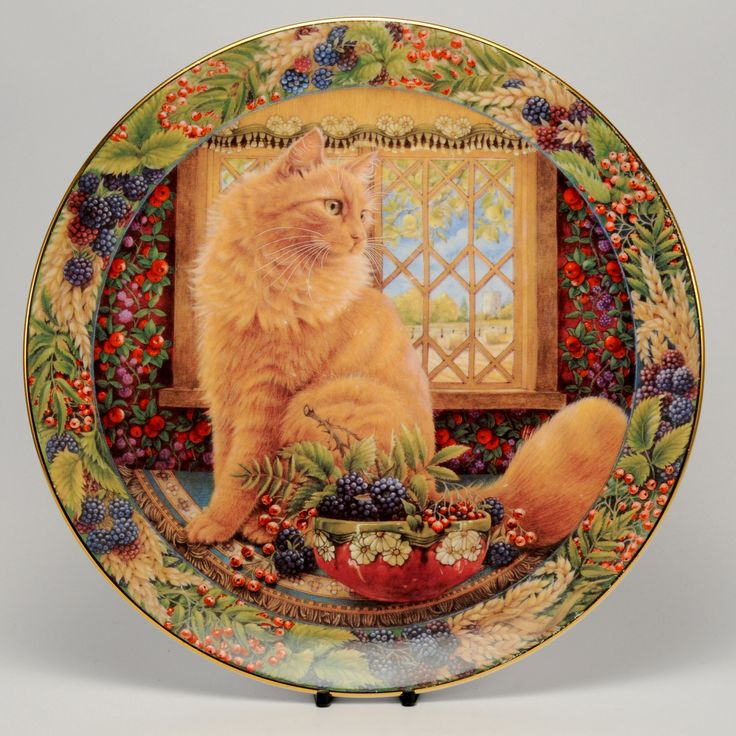 Decorative Cat Plate Royal Doulton - Lesley Anne Ivory - Dandelion at the autumn window