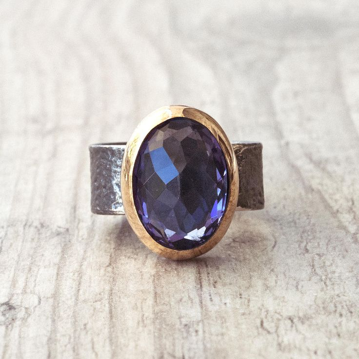 Sterling Silver and Gold Amethyst Ring, Purple Gemstone Ring, Natural Amethyst Jewelry