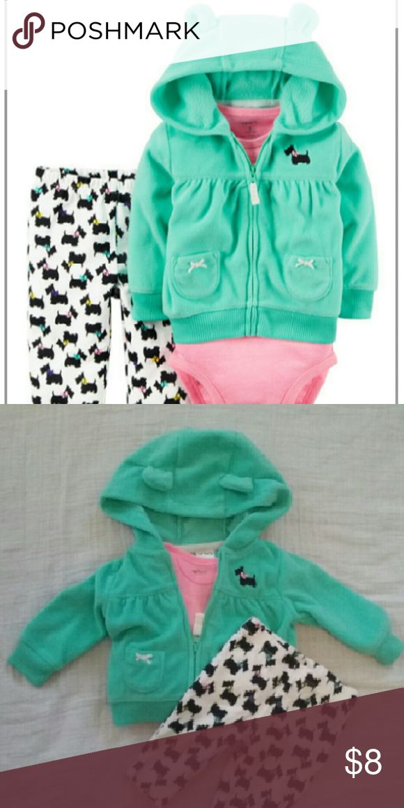 NB Carters 3 pc Scotties dog outfit This adorable outfit was only worn once! It has neon colors, a hooded jacket with ears, and a matching pink onesie. These cute little Scottie dogs make these pants stand out! Size NB. Carter's Matching Sets