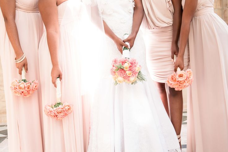 Gorgeouse shades of pink. Photo by Jessica Notelo. #pink #wedding #bridesmaids #roses #flowerbouquets #pastels #weddingphotography #jessicanotelo