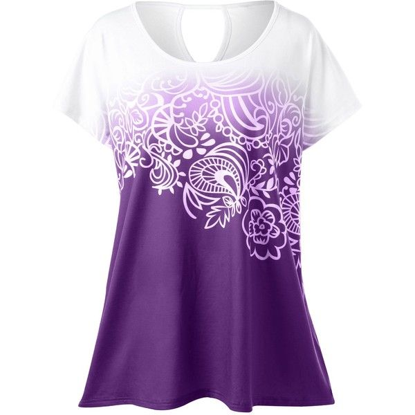 Plus Size Floral Ombre Tee (85 CNY) ❤ liked on Polyvore featuring tops, t-shirts, purple plus size tops, floral graphic tee, purple t shirt, floral print t shirt and plus size womens tees