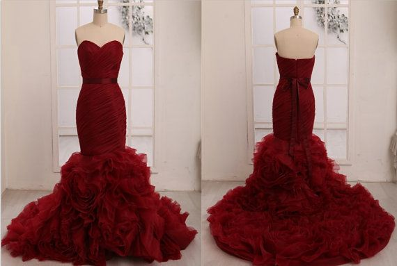 Vera Wang Inspried Wine Red Burgundy Organza Mermaid by misdress, $299.00