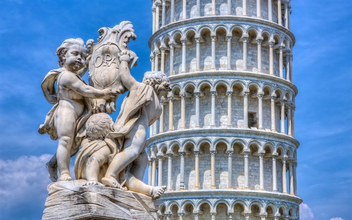 Download wallpapers Leaning Tower of Pisa, Sights of Italy, monuments of architecture, Pisa, Italy