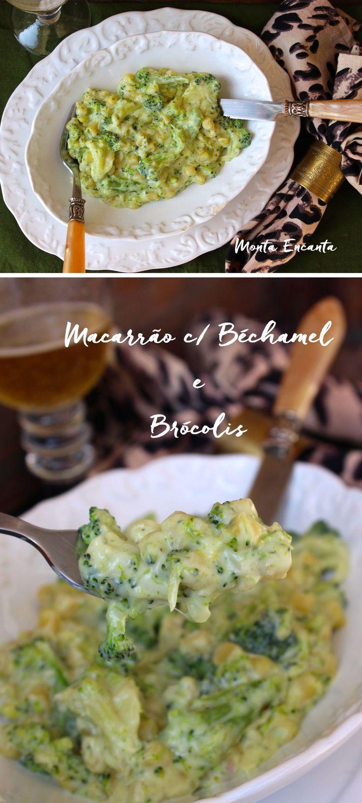 Macarrão com Béchamel e Brócolis, o macarrão é de sopa e cozido no próprio molho, ao modo risotado, absorvendo todos os sabores durante o cozimento!