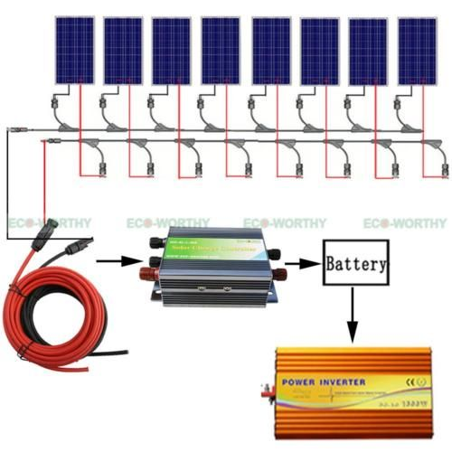 1 of 12 - 800W Solar Panel Kits: 8*100W Solar Panel with 3KW Inverter 12V Off Grid System