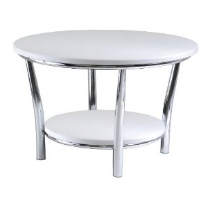 Winsome Wood Maya Round Coffee Table, White Top, Metal Legs --- http://www.pinterest.com.itshot.me/7l2
