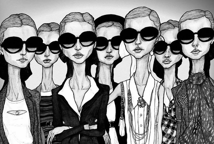 paintings of women wearing sunglass4s | Artist Danny Roberts Girls in Glasses black in white fashion ...