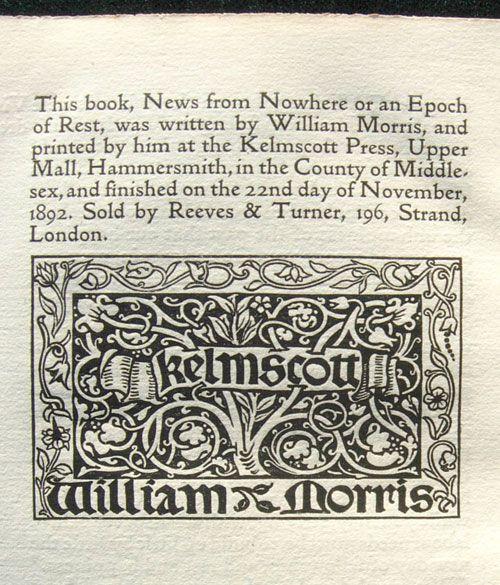 William Morris, The Kelmscott Press colophon, News from Nowhere, 1892.